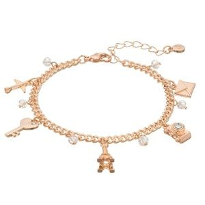 LC Lauren Conrad Rose Gold Travel Charm Bracelet